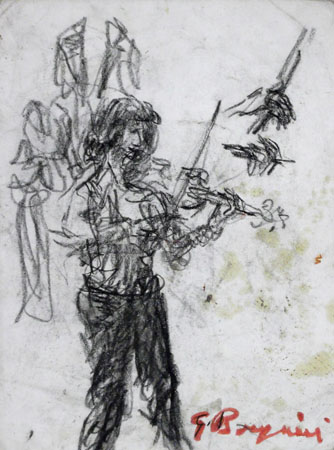Art work by Guido Borgianni Figura con violino - china paper